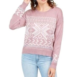NWT Hippie Rose Pink Patterned Sweater Large